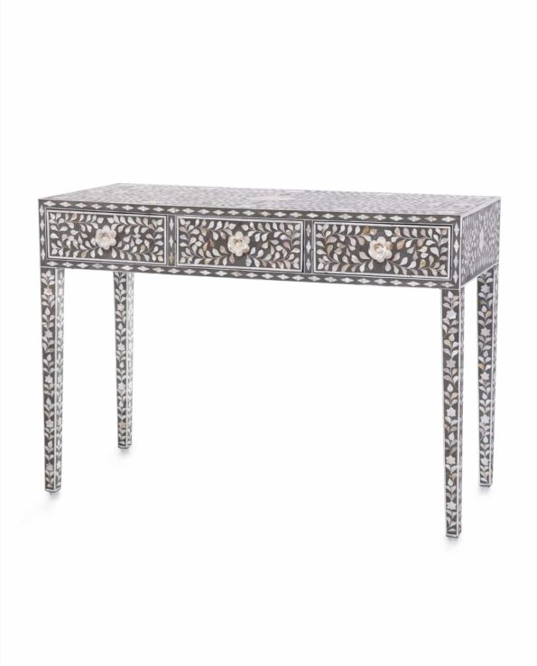 Mother of pearl inlay 3 draw console table