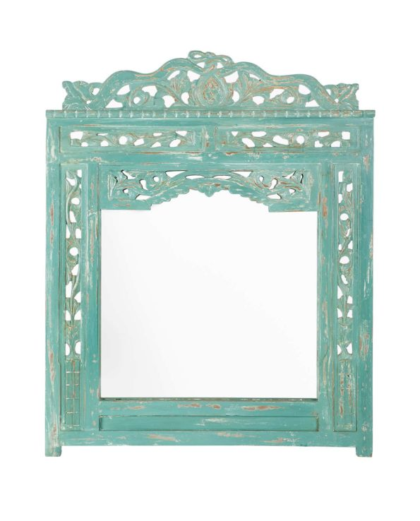 Java hand carved mirror