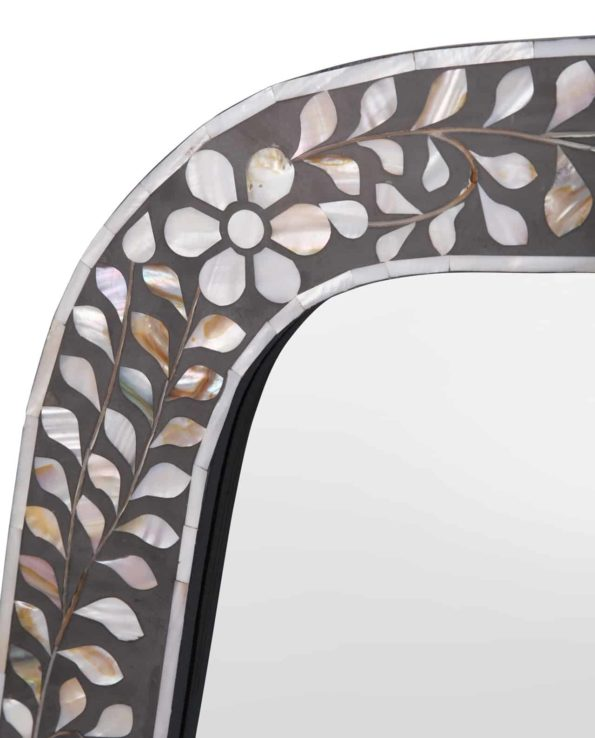 Floral and leaf mother of pearl inlay mirror closeup
