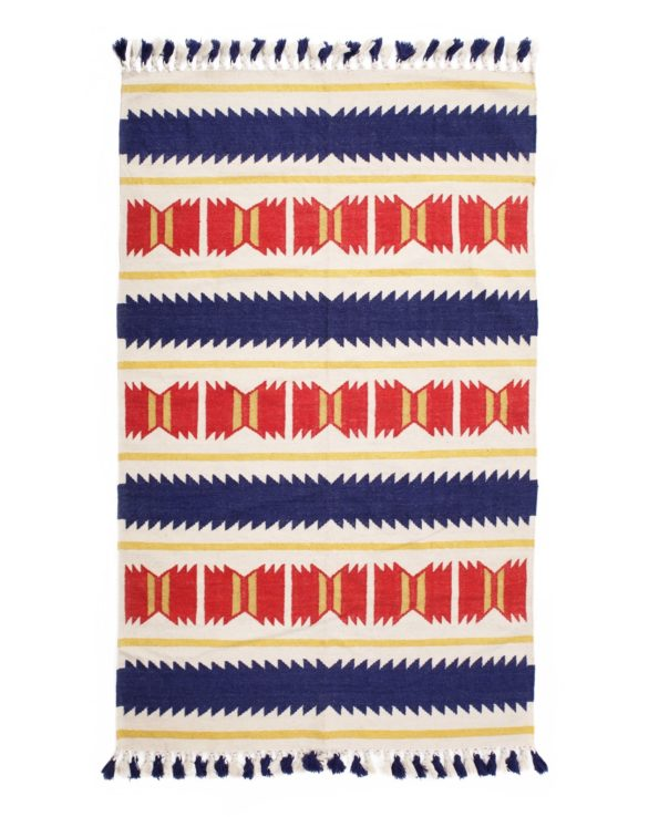 Geometric hand weaved dhurrie