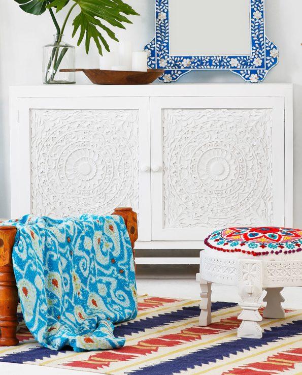 Indah white carved door cabinet set