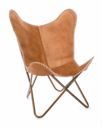 Rustic leather chair leather front
