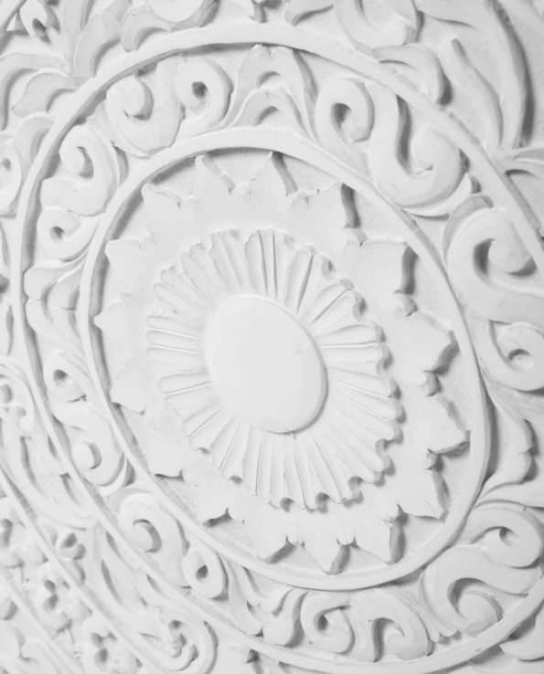 White Carved door cabinet detail