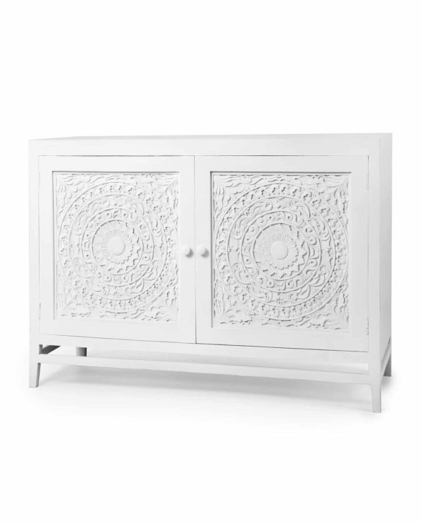 Indah white carved door cabinet
