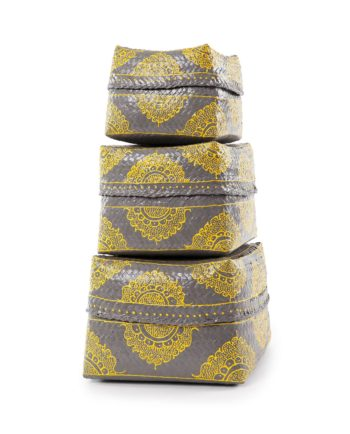 Bali nesting baskets set – grey and yellow
