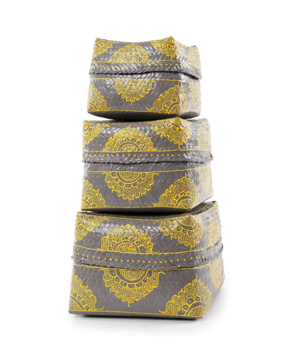 Keben nesting baskets set – grey and yellow