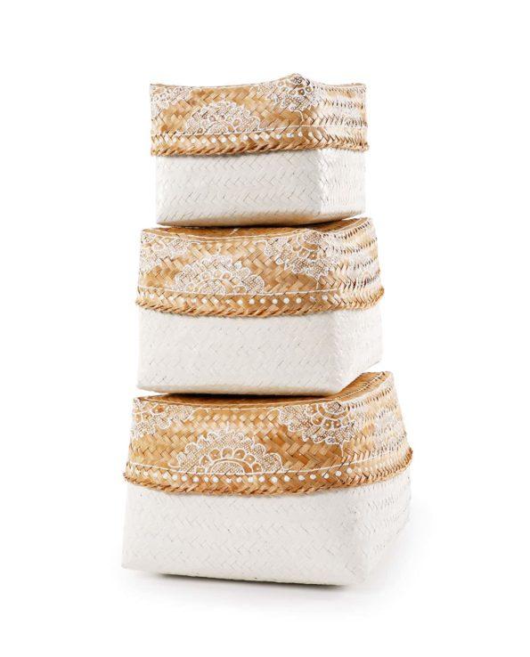 Keben nesting basket set – natural and white