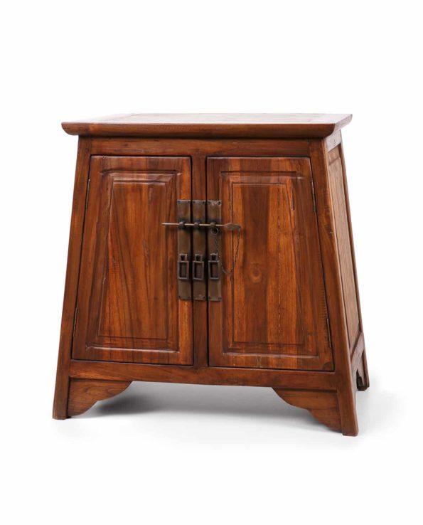 Teak bedside cabinet with brass handles