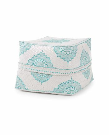 Big Bali basket – white and turquoise