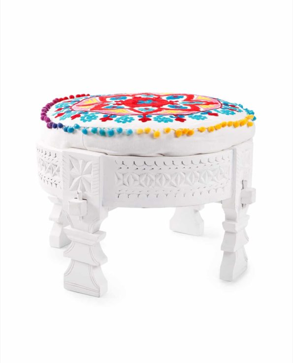 Chakki stool with suzani cushion