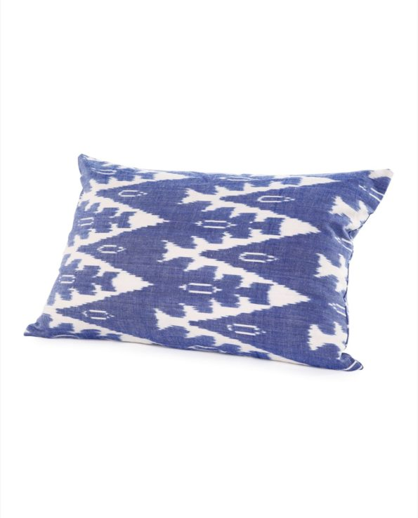 Ikat bolster cushion with feather down inner