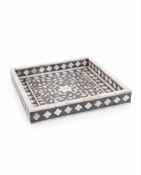 Grey mother of pearl inlay tray