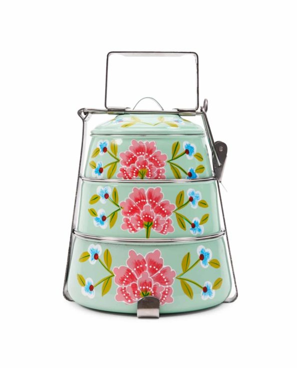 Frangipani handpainted tiffin – mint green