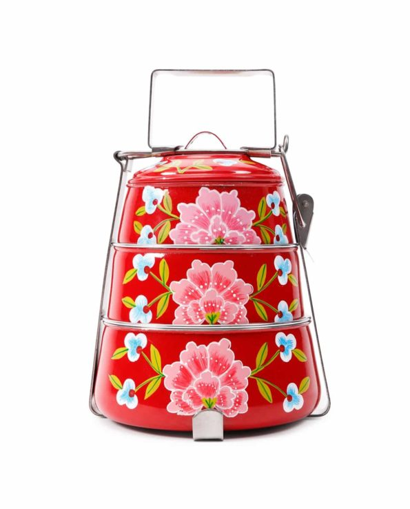 Frangipani handpainted tiffin – red