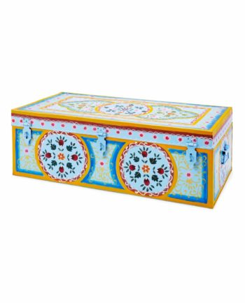 Handpainted Enamel suitcase blue front