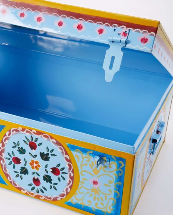 Handpainted Enamel suitcase blue front blue top