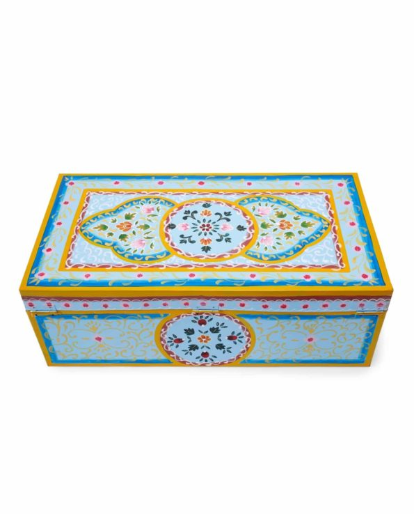 Handpainted Enamel suitcase blue top