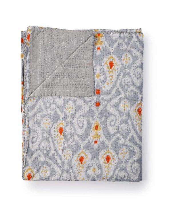 Ikat paisley kantha quilt – grey