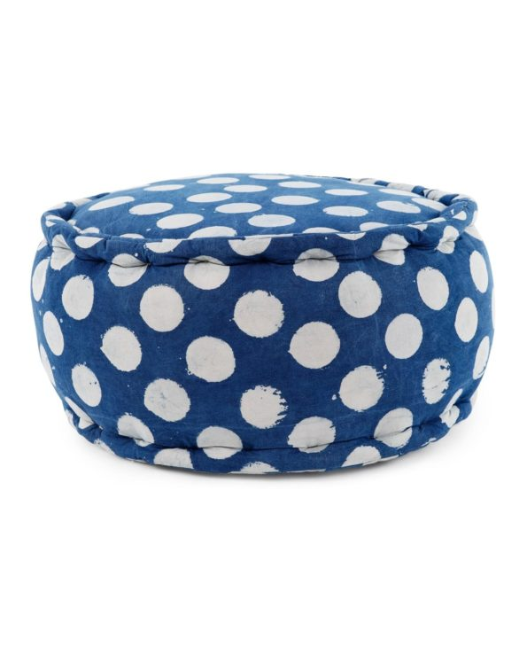 Rustic nautical indigo ottoman