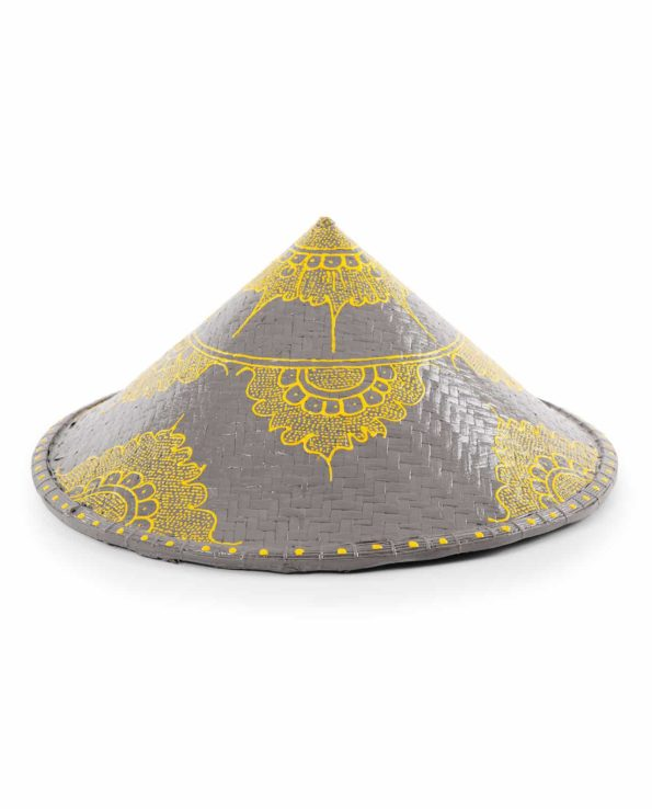 Jaapi paddy hat – grey and yellow