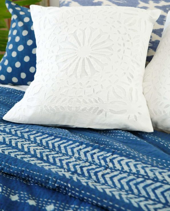 indigo diamond and arrow kantha quilt detail