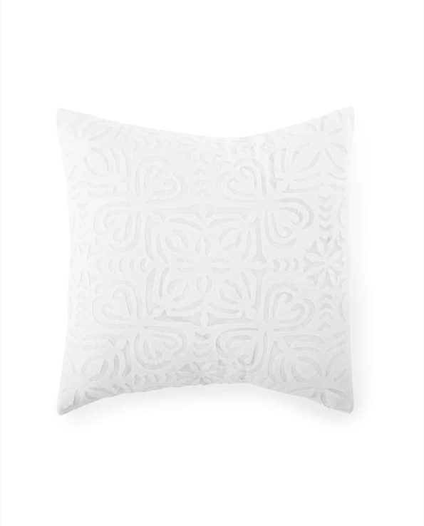 Applique cushion with feather down inner