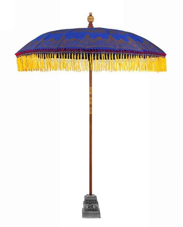Balinese ceremonial umbrella and stand electric blue – Big