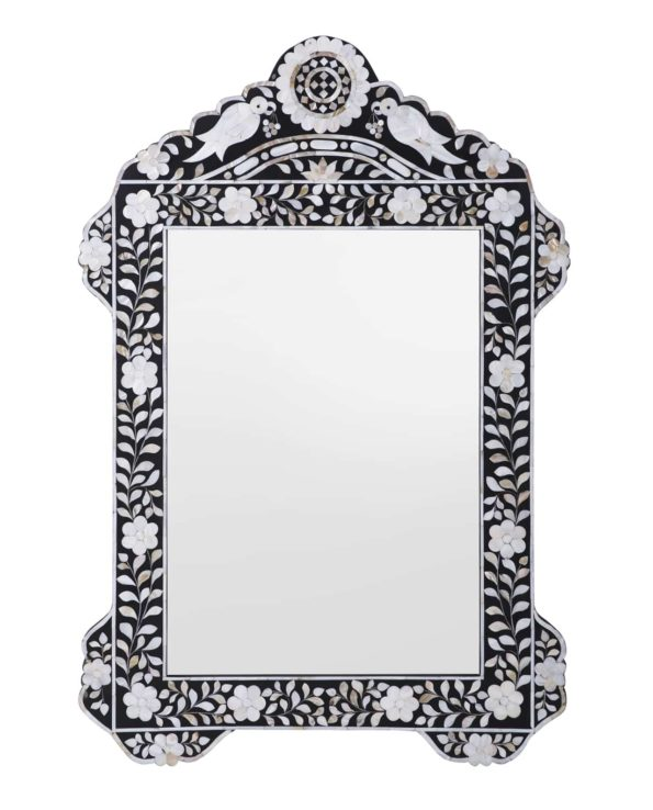 Bird mother of pearl inlay mirror – black