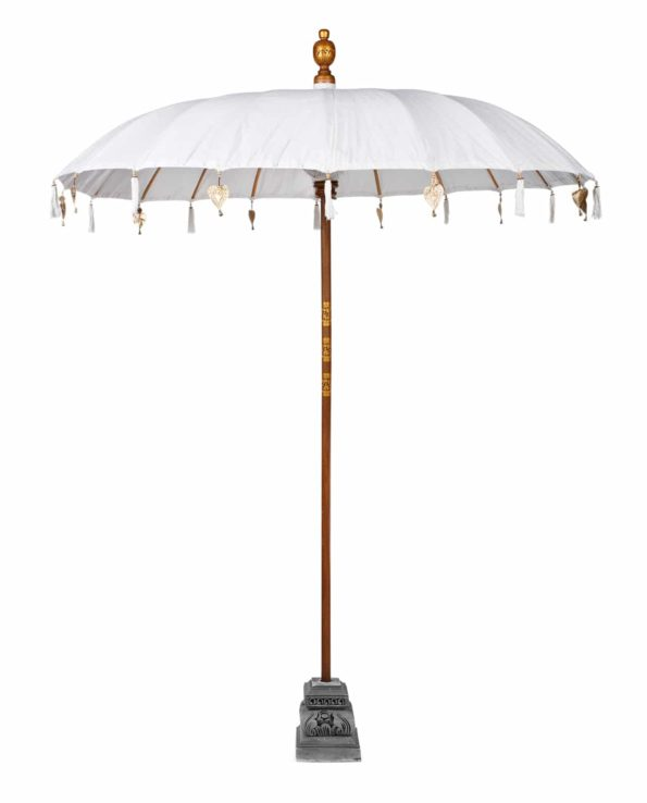 Balinese ceremonial umbrella and stand white – Big