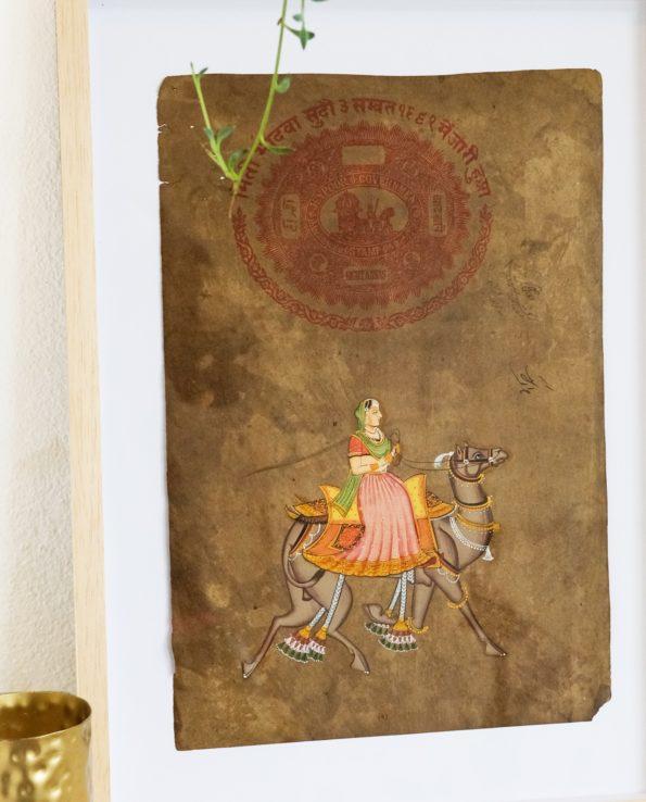 Miniature Indian painting on old postage paper – Maharani