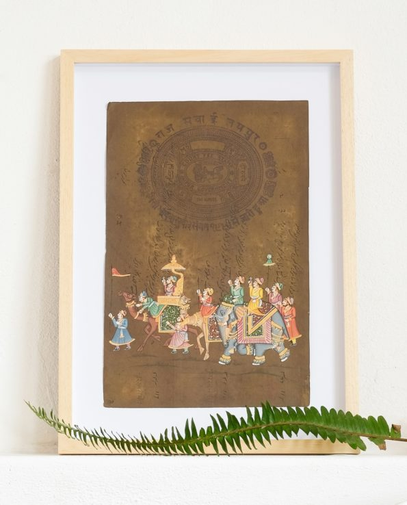 Miniature Indian painting on old postage paper – Procession 2