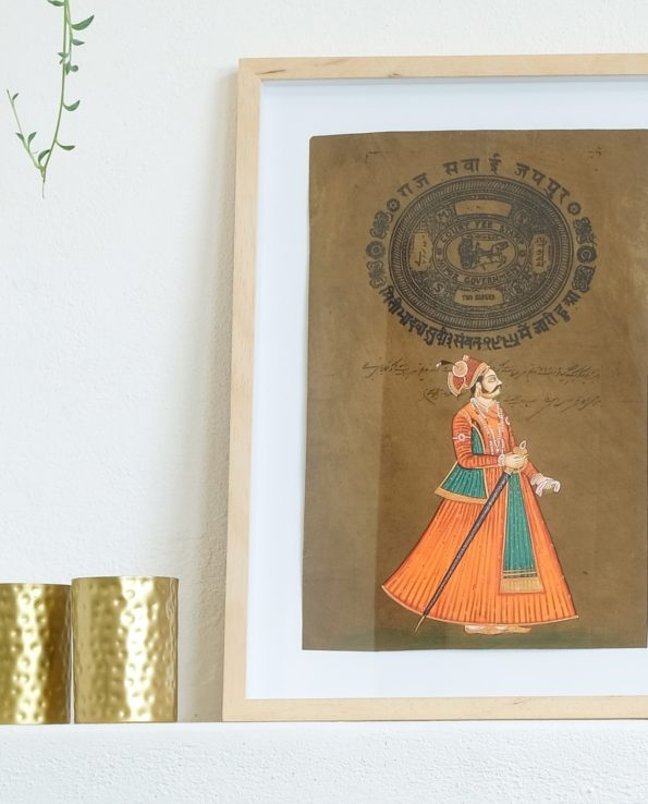 Miniature Indian painting on old postage paper – Maharajah 2