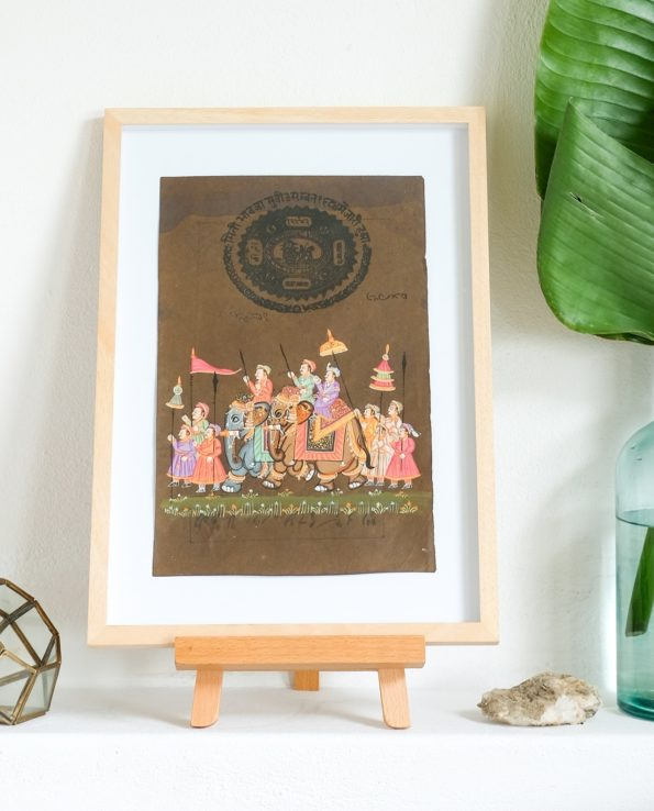 Miniature Indian painting on old postage paper – Procession