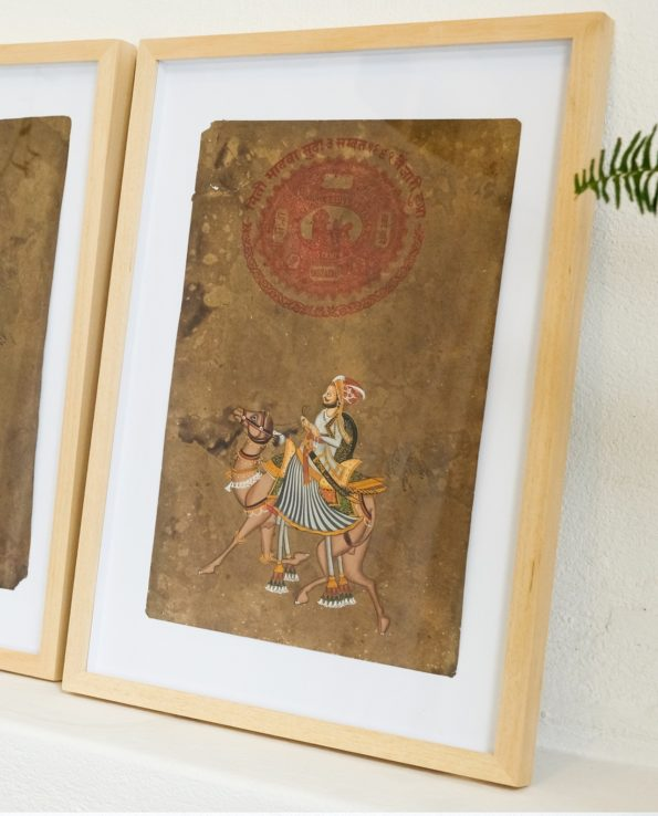 Miniature Indian painting on old postage paper – Maharajah