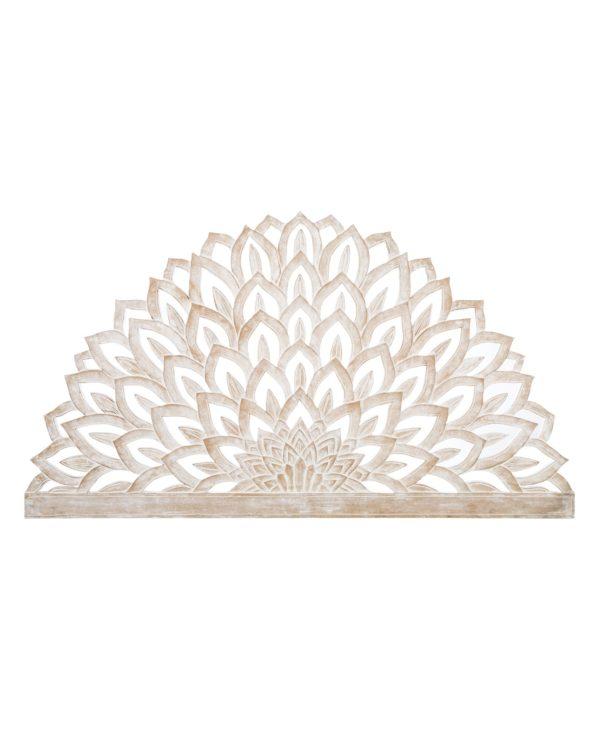 Lotus flower carved king size panel