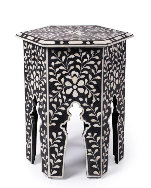 Udaipur inlay hexagon side table – black