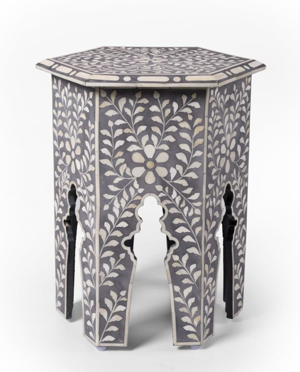 Udaipur inlay hexagon side table – grey