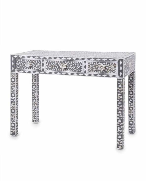 Mother of pearl inlay 3 draw console table – grey 75hx105lx45w