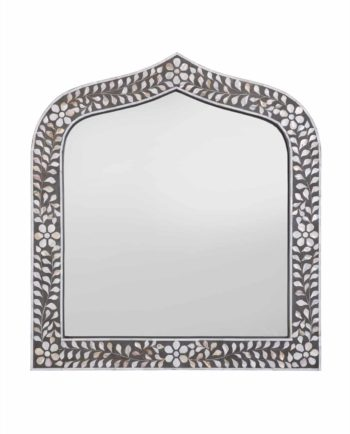 Floral and leaf mother of pearl inlay mirror