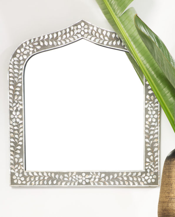 Floral and leaf mother of pearl inlay mirror 73hx68w