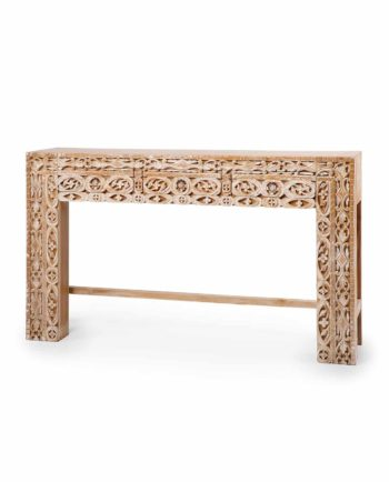 hand carved Console white washed