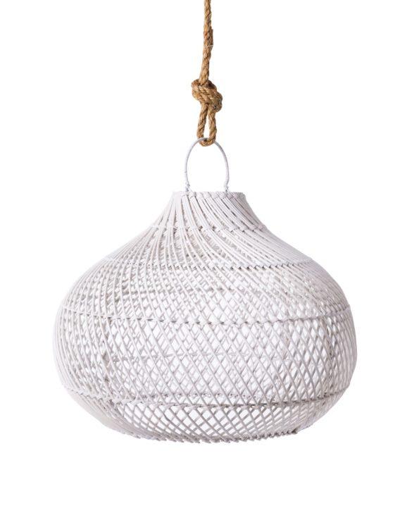Rattan pendant round – white 40hx50w