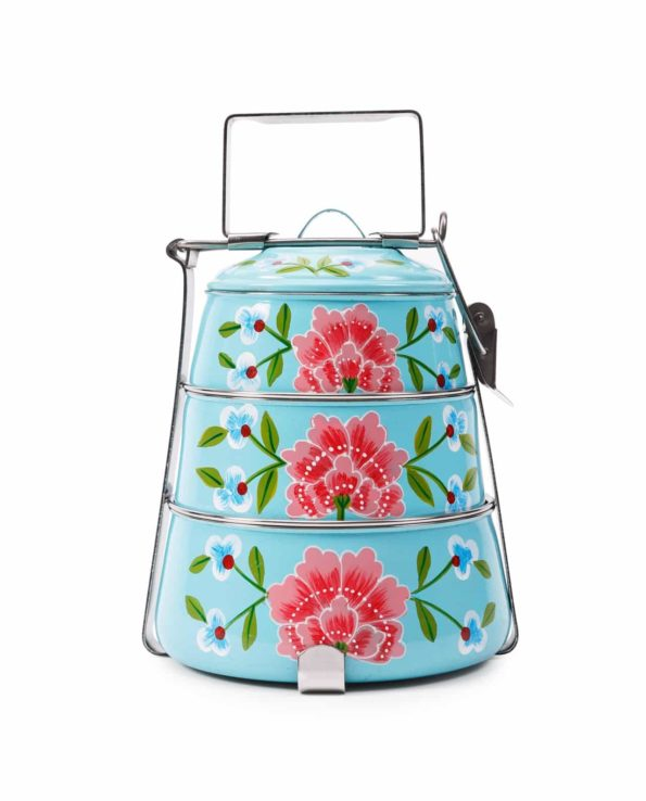 Frangipani handpainted tiffin – sky blue