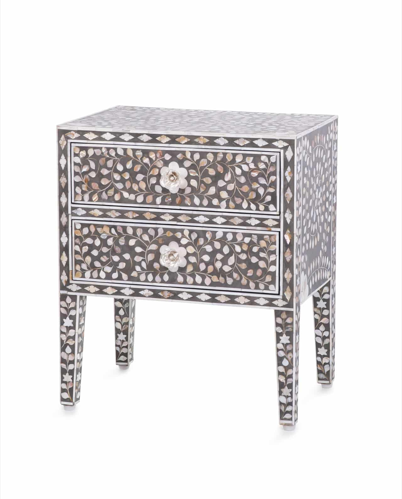 Mother Of Pearl Inlay Bedside Table Grey