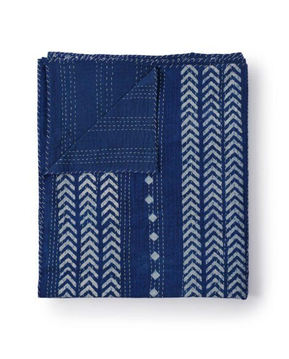 Indigo diamond and arrow kantha quilt