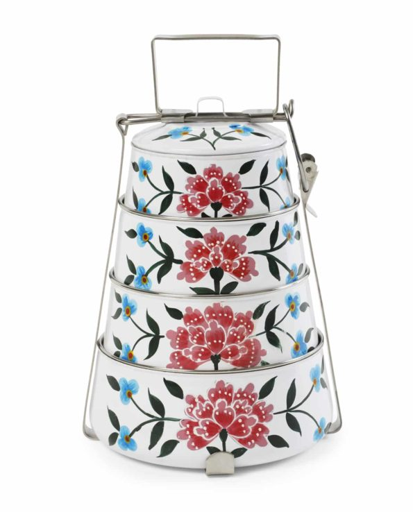 Frangipani handpainted tiffin – 4 tier white