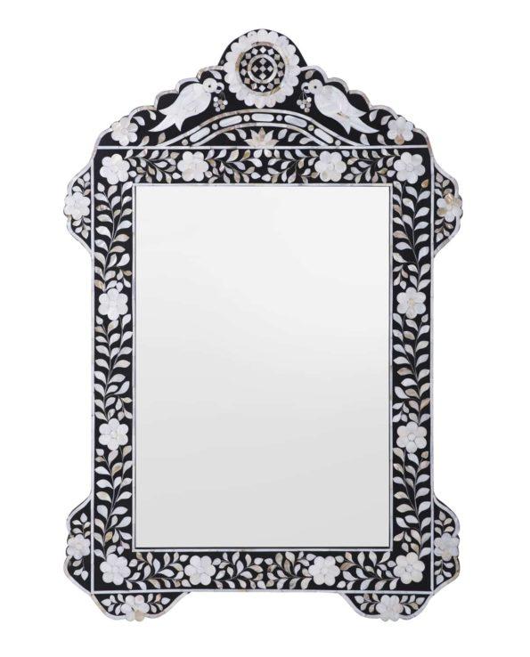 Bird mother of pearl inlay mirror – black 104hx70w