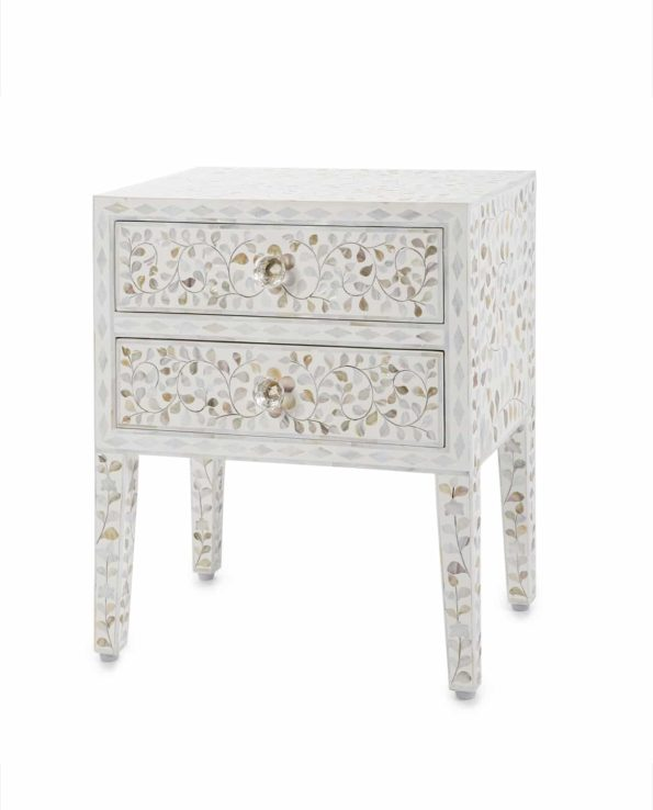 Mother of pearl inlay bedside table – white