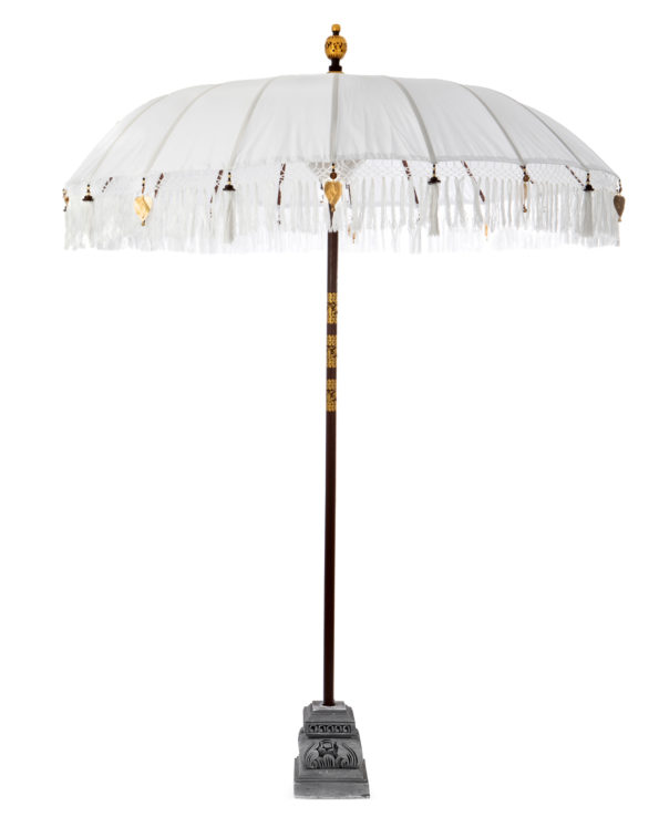 Balinese ceremonial umbrella and stand white – Big 230hx200w