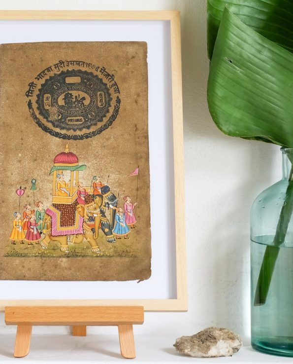 Miniature Indian painting on old postage paper – wedding procession